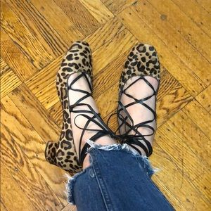 Evelyn lace-up leopard-print calf hair pumps